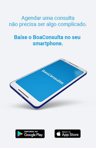 Imagem de celular com app BoaConsulta aberto