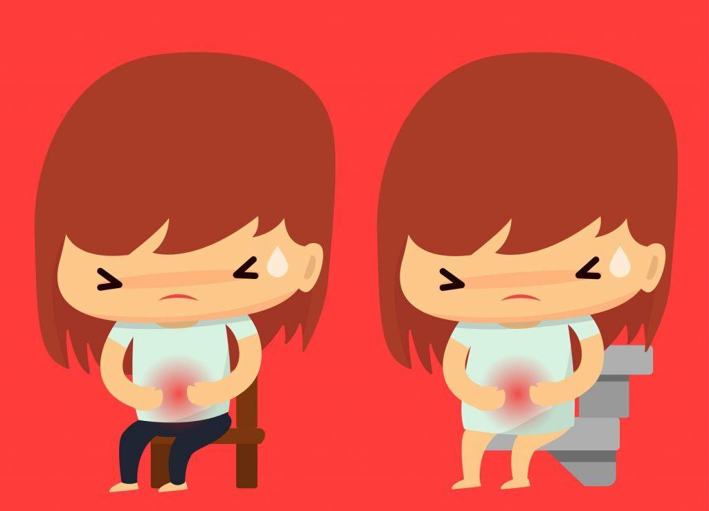 Desenho de meninas com sintomas de mioma uterino.
