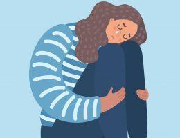 Desenho de mulher sofrendo os sintomas da ansiedade.