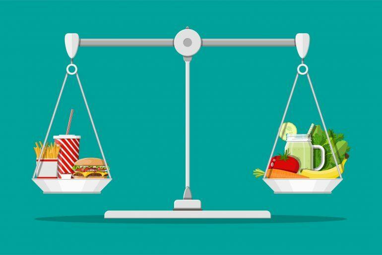 Na imagem, uma balança aparece sustentada por comidas.