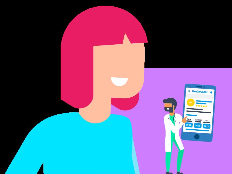 Desenho de médico, mulher e celular caracterizando Boa Consulta