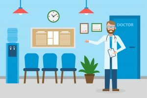 Na imagem, médico aparece mostrando com as mãos a estrutura da sala de espera de consultório médico
