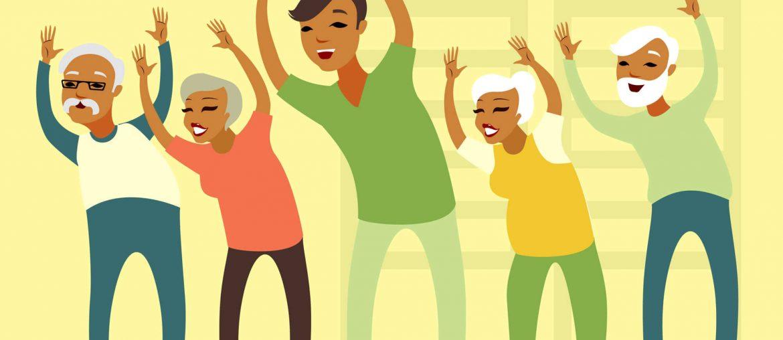 Na foto, pessoas que aparentam ser mais velhas estão praticando algum tipo de exercício com as mãos levantadas.