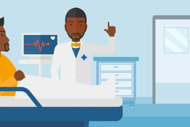 Médico explicando a paciente a doenças masculinas