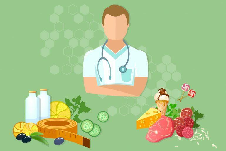 Na foto, um homem aparece entre comidas.
