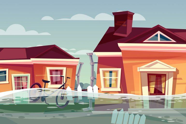 Na imagem, duas casas são mostradas de frente sofrendo uma enchente.