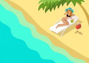 Na imagem, a visão de cima de uma praia mostra um pedaço do mar e uma mulher tomando sol em uma cadeira de praia.