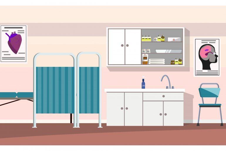 Na imagem, vê-se uma sala de exames, com os seguintes elementos: cortina, maca, pia e prateleira com aparatos médicos.