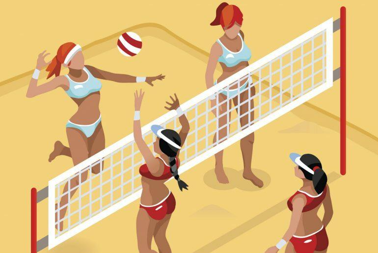 Na imagem, quatro meninas aparecem jogando vôlei de praia.