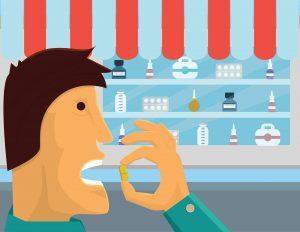 Na imagem, um homem aparece em primeiro plano ingerindo um comprimido.