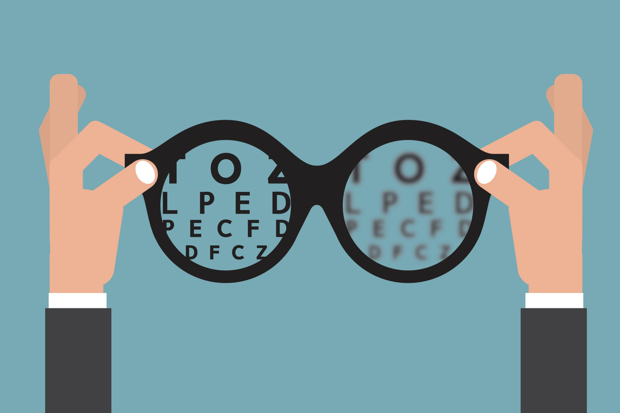 cbb0c1d15 Na imagem, um óculos de grau com letras dentro, simulando o exame de  refração