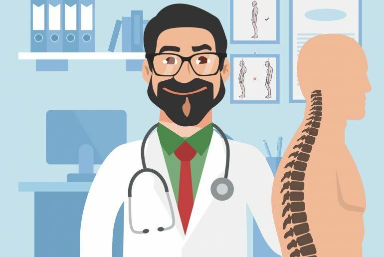 Na imagem, um médico vestindo um jaleco branco está ao lado de um corpo humano em que o destaque é a espinha dorsal.