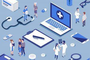 Na imagem, encontram-se vários elementos dispostos numa superfície. Entre eles, estão médicos conversando com pacientes, um laptop, um estetoscópio e comprimidos.