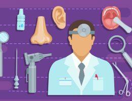 Na imagem, um médico com jaleco aparece em destaque. Em torno dele, diversos elementos que remetem a medicina.