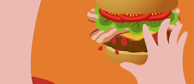 Desenho de um menino comendo hambúrguer, o que não é um habito saudável para prevenir doenças cardiovasculares.