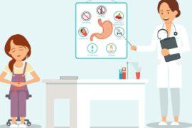 Ilustração de médica orientando paciente sobre a pedra na vesícula.