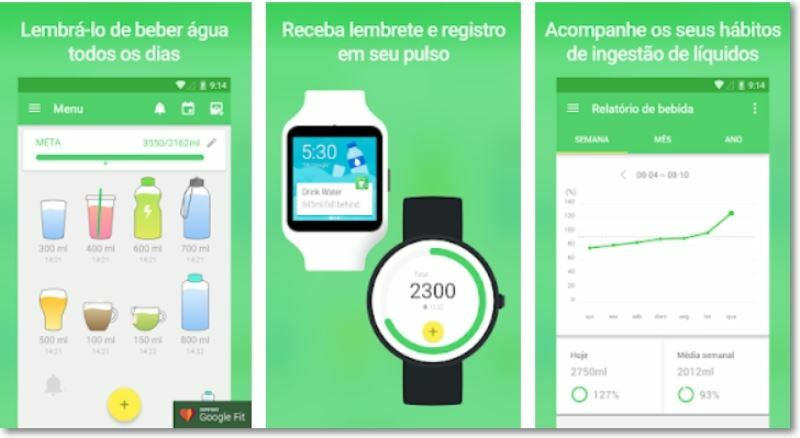Prints da tela do app Beba Água.