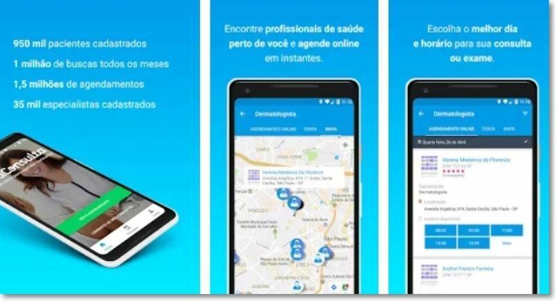 Prints de tela do Aplicativo BoaConsulta.