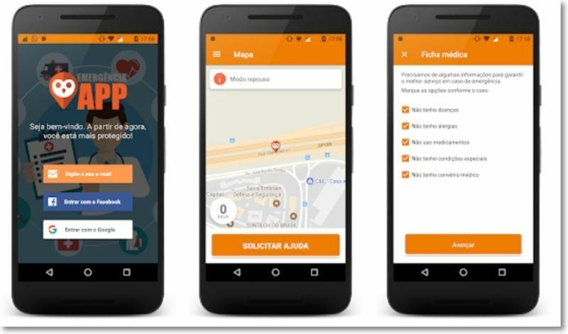 Prints da tela do app emergencia.
