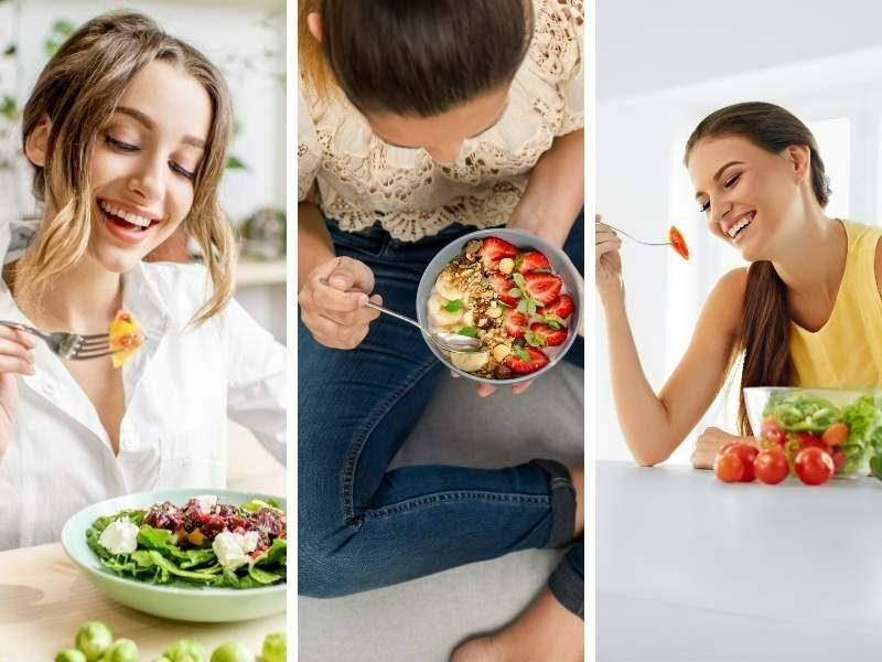 Mulheres comendo alimentos saudáveis para prevenir o diabetes.