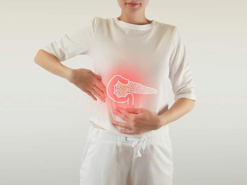 Ilustração da região onde se localiza o pâncreas.
